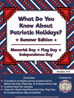 Memorial Day, Flag Day, and Independence Day Freebies