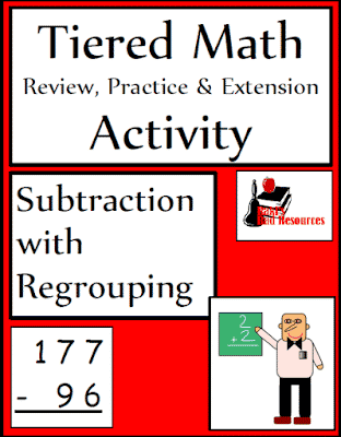 Free Tiered Math Activity for Subtraction with Regrouping