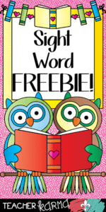 Sight Word FREEBIE from Teacher KARMA