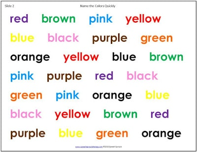 FREE Try this eye-opening word-finding demonstration at your next faculty meeting to experience what it might be like to have an expressive language disability. Don't read the words, just tell the color. How did you do? www.speechsproutstherapy.com