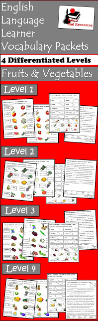 Free vocabulary packet for english language learners on fruits and vegetables from Raki's Rad Resources