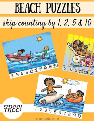Skip Counting Beach Puzzles