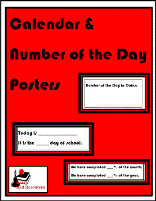 Free Calendar and Number of the Day Posters from Raki's Rad Resources
