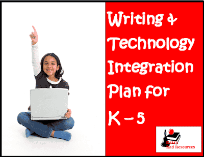 Writing and technology integration plan for kindergarten, first grade, second grade, third grade, fourth grade and fifth grade. Free download from Raki's Rad Resources.