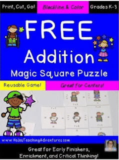 FREE Hands-On Addition Math Puzzle