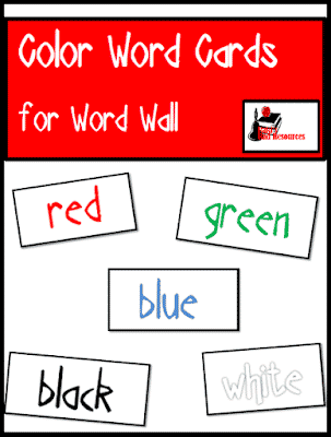 Free Color Word Cards for Your Word Wall