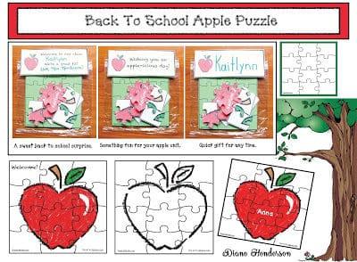 Back To School Apple Puzzle Treat Baggies