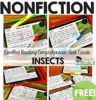 Sea of Knowledge's Free Insects Nonfiction Reading Comprehension Task Cards
