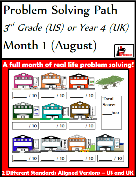 Free problem solving path math journal for 3rd grade - 10 math word problems in a graphic organizer with a grading rubric from Raki's Rad Resources.