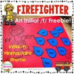 FREE Initial F and Rhyming  Words Firefighter Craftivity