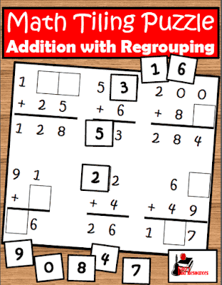 Free Addition with Regrouping Tiling Puzzle