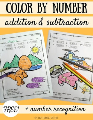 Color by Number: Addition, Subtraction and Number Recognition
