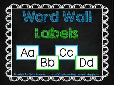 Free Word Wall Labels – Terri's Teaching Treasures