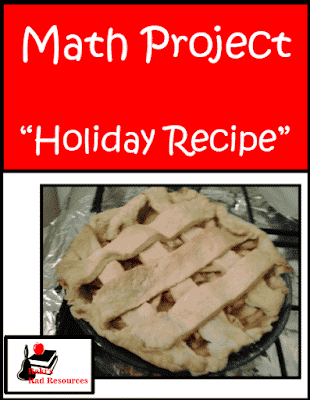 Free math project based on holiday recipes that students bring in from home. Great way to get to know your students! Free resource from Raki's Rad Resources.