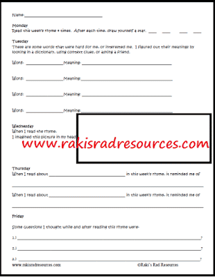 Free Differentiated Nursery Rhyme Response Sheets