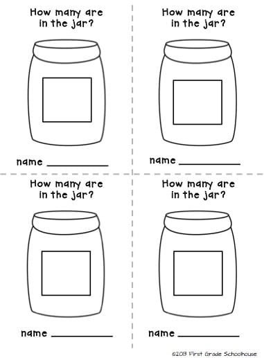 graphic about Guess How Many in the Jar Printable named Estimation Jar Math Heart - Clroom Freebies
