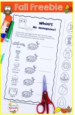 Whooo Doesn't Love Fall Freebies? Interactive  Multiple Meanings Activity for Homophones.
