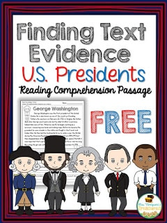 FREE U.S. Presidents Text Evidence Reading Comprehension Passage