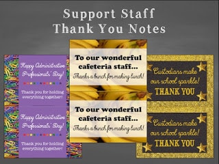 Support Staff Thank You Notes Classroom Freebies