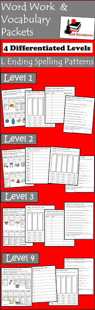 Free spelling and vocabulary packet with four differentiated levels for l endings (el, al, le) from Raki's Rad Resources.