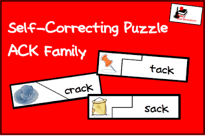 Free independent literacy station - ACK family self-correcting puzzle from Raki's Rad Resources.