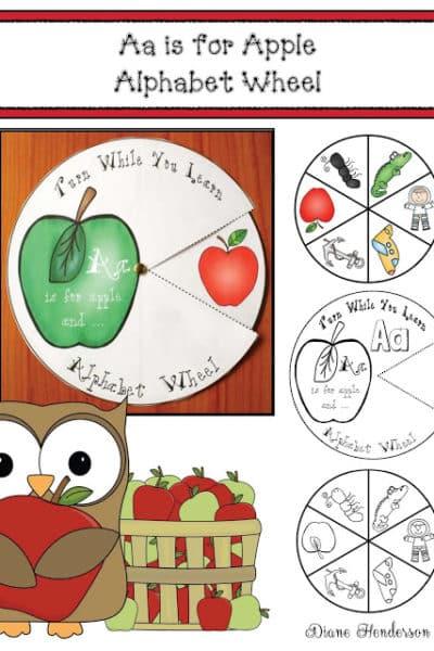 Aa is for Apple Alphabet Wheel