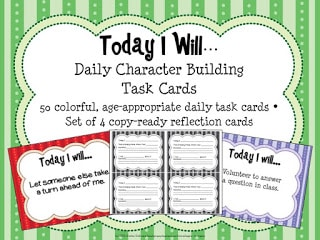 Today I Will…Building Character Task Cards