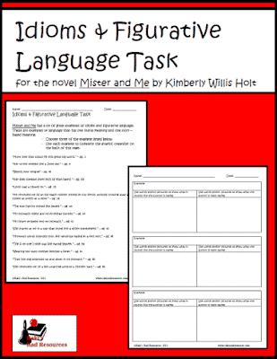 Mister and Me Figurative Language Task