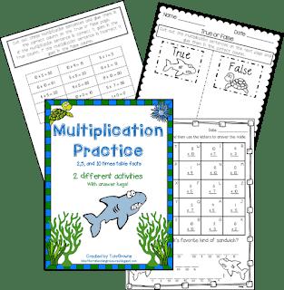 Shark-themed Multiplication Activities
