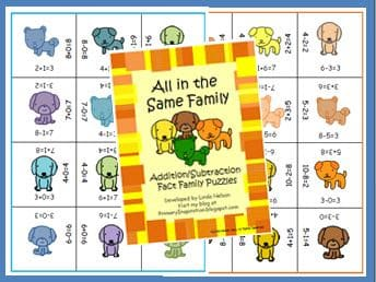 Addition and Subtraction Fact Family Puzzles