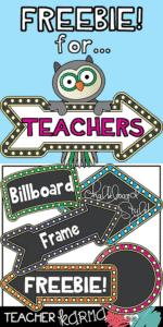 Clipart FREEBIE for Teachers – Chalkboard – Billboard Style