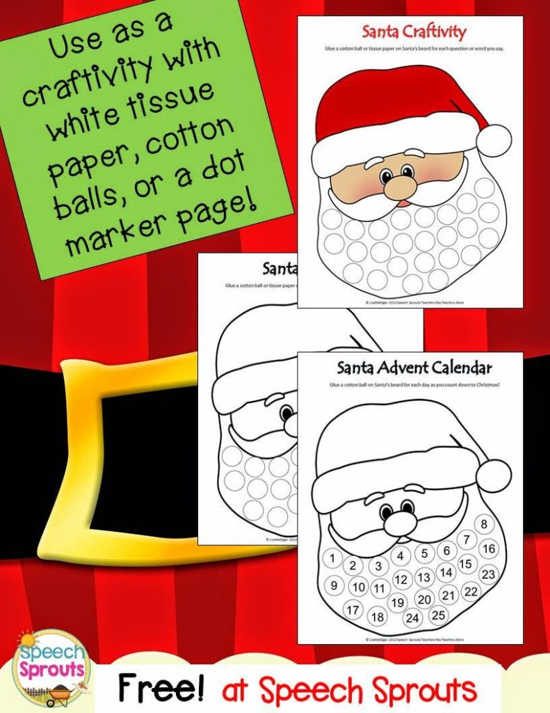 Santa Advent Calendar and Craft Freebie from Speech Sprouts www.speechsproutstherapy.com