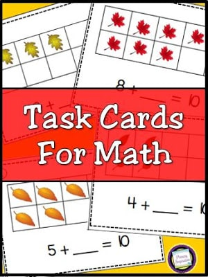 Missing Addends Task Cards for Fall
