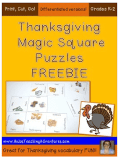 Last Minute K-2 Thanksgiving Vocabulary Puzzle FREEBIE
