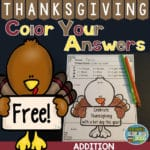 Fern Smith's FREE Thanksgiving Addition Facts – Color By Code Printable!
