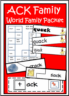 Free word family packet with five literacy centers on the ACK word family from Raki's Rad Resources.