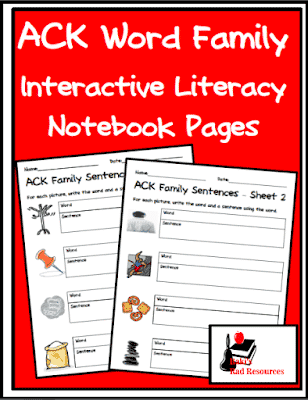 Free Interactive Notebook Literacy Pages for Word Families
