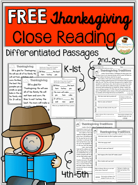 Free Thanksgiving Close Reading K-5 - Classroom Freebies