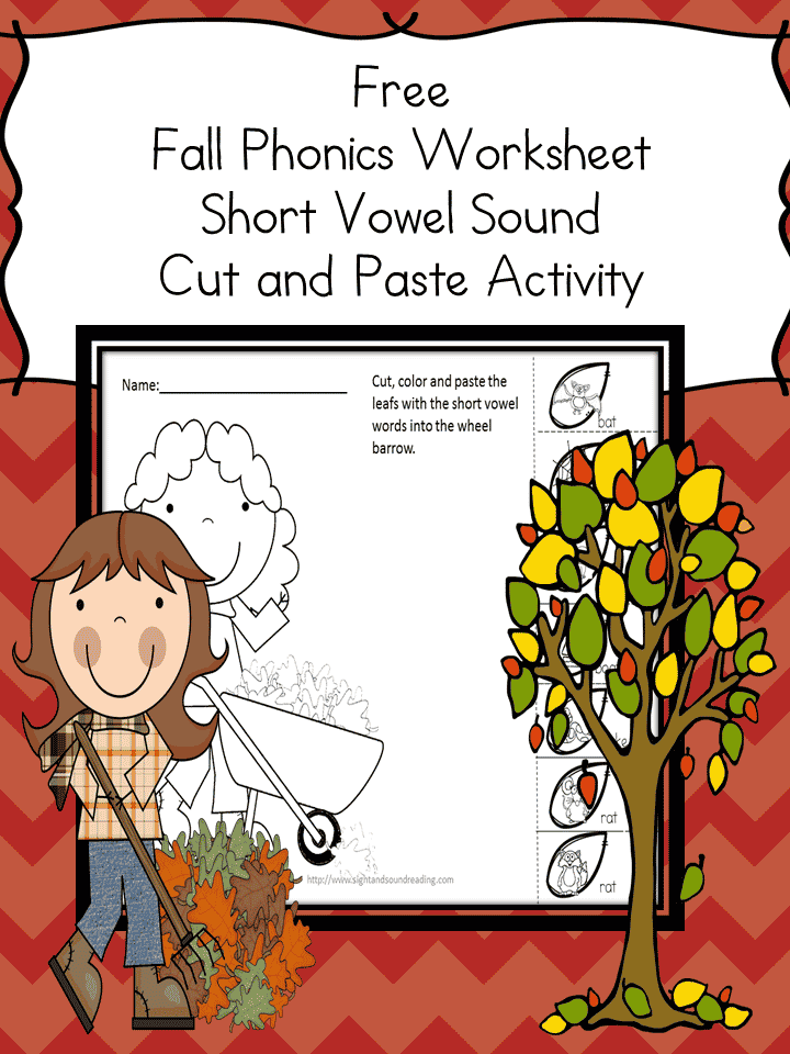 Free Fall Phonics Worksheet Short Vowel Sound Cut And Paste