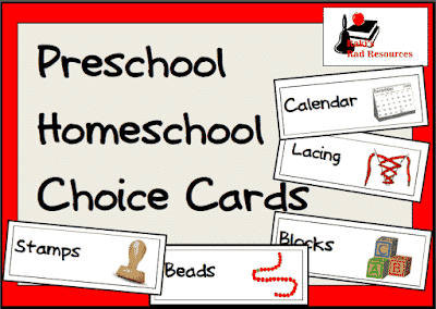 Free Preschool Homeschool Choice Cards