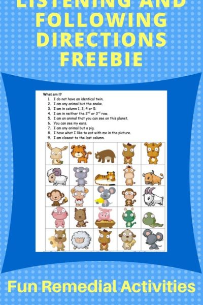 Listening and Following Directions Activities Freebie