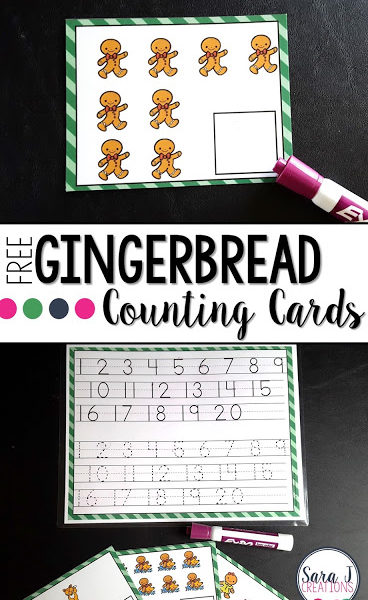 Gingerbread Write and Wipe Counting Cards