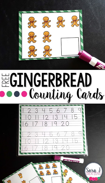 Free gingerbread man themed counting cards.