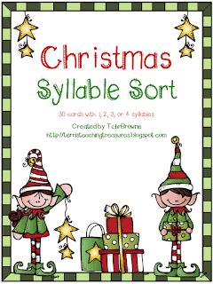 Free Christmas Syllable Sort