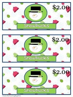 Snowman Money to Promote Positive Classroom Behavior