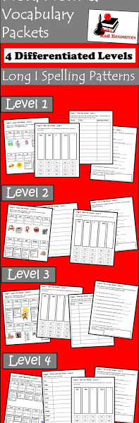 Long I Spelling Pattern Vocabulary Packet