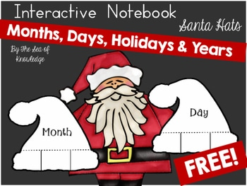 Sea of Knowledge's Free Months, Holidays, Days & Years Interactive Santa Hat Flap