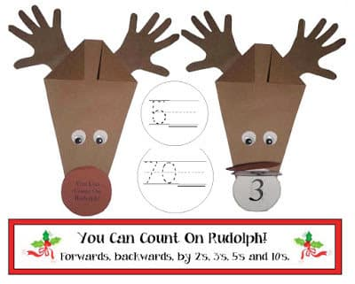 """You Can Count On Rudolph"" Reindeer Craftivity"