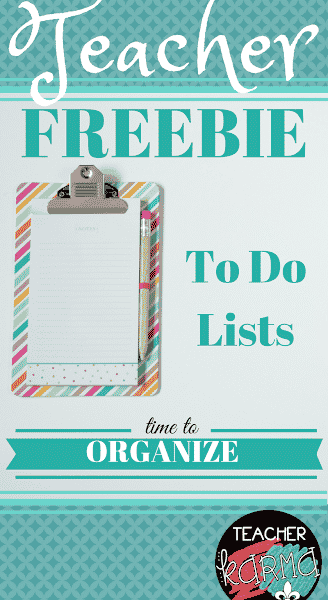 Time to Organize -To Do Lists for Teachers