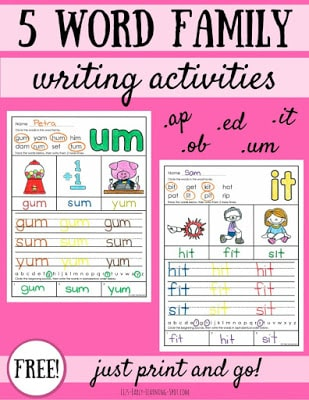 5 Word Family Writing Activities
